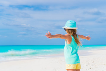 Adorable little girl at beach during summer vacation. Back view of kid on the seashore