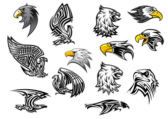 Vector icons eagle hawk bird for mascot or tattoo