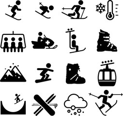 Ski Area Icons - Black Series