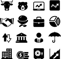 Stock Market Icons - Black Series