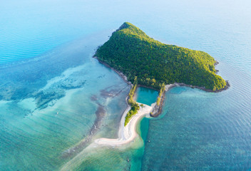 Aerial view from the drone on the island Ko Tae Nai,around Thong Sala pier on Phangan island,the most important tourist destination