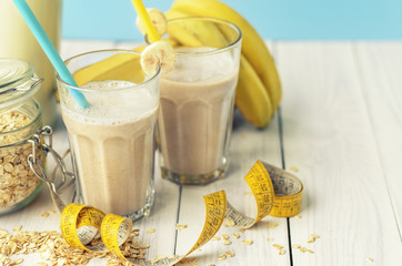 Useful banana smoothie with oatmeal , healthy vegetarian breakfasts