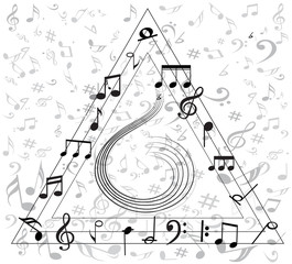 Music note background with symbols