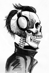 Skeleton in headphones