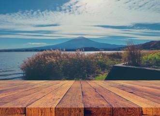 """wood table and blur """"fuji"""" mountain"""
