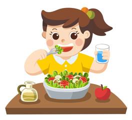 Kid Eating Vegetables Clipart