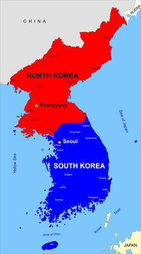 North and South Korea political color map, national borders, important cities. English labeling. Illustration