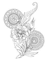 Decorative drawing of peony flowers, patterns and mandalas, tattoo, sketch