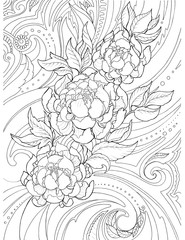 Decorative, abstract drawing of peony flowers and patterns, tattoo, sketch