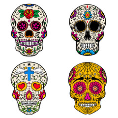 Set of sugar skulls isolated on white  background. Day of the dead. Dia de los muertos. Vector illustration