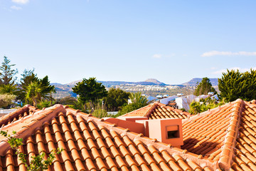 Typical Mediterranean Roofs from a coastline house.
