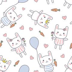 Cartoon Rabbit Seamless Baby Pattern