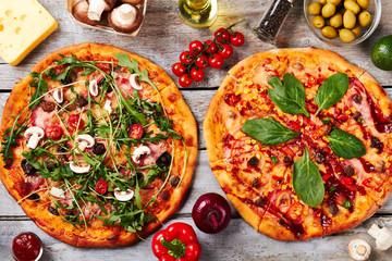 Pizzas, ingredients, top view.