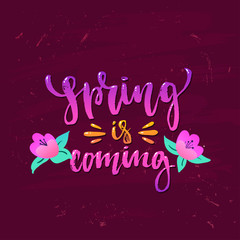 """Vector trendy hand lettering poster. Hand drawn calligraphy """"spring  is coming"""""""