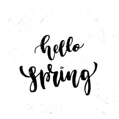 """Vector trendy hand lettering poster. Hand drawn calligraphy """"hello spring"""""""
