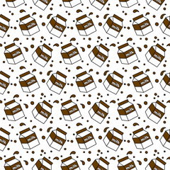 Milk Box Seamless Pattern Background