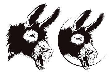 Vector illustration. Laughing donkey.