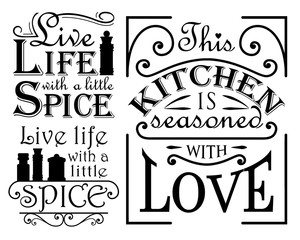 Lamas personalizadas para cocina con tu foto Set of wall decal quotes for the kitchen, dining areas