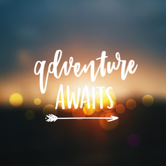 trendy hand lettering poster. Hand drawn calligraphy  Adventure awaits