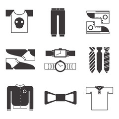 Male clothes icon set