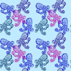 Octopus, seamless pattern design, hand drawn doodle, sketch in pop art style, color illustration, blue and purple on soft blue background