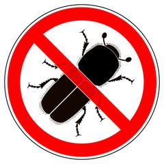 srr232 SignRoundRed - german - Verbotszeichen: Borkenkäfer - Buchdrucker - Kupferstecher verboten - english - prohibition sign / no bark beetle - xxl g5300
