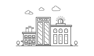 Concept of police department building in flat line design, front view. Vector illustration isolated on white.