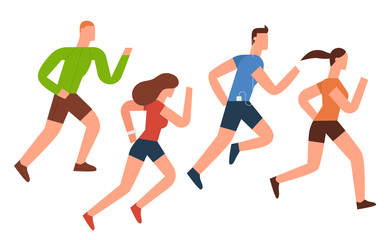 Running, Flat Design, Illustration