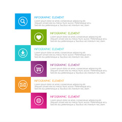 Flat colorful abstract infographic, six options with icons, minimalistic design for your project