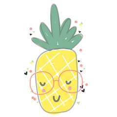 Illustration of a Happy Pineapple Wearing Glasses