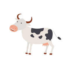 Cute cartoon happy cow illustration