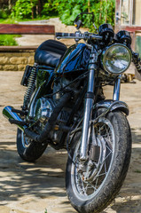 Old classic cafe racer motorbike