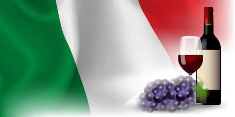 ワイン イタリア  国旗 背景