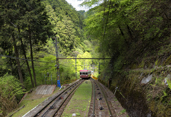 Funicular railway in Koyasan in Japan