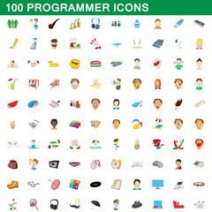 100 programmer icons set, cartoon style