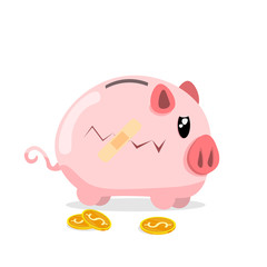 piggy bank bandage gold coins flat vector