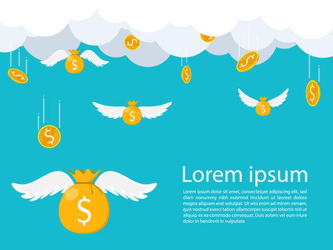 money bag wing falling from sky cloud,money bag flying sky,gold coin falling from sky vector