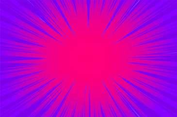 Purple Sun Rays or Explosion Boom for Comic Books Radial Background Vector