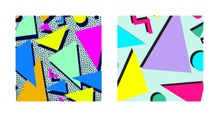Set of Retro vintage 80s or 90s fashion style abstract pattern background. Good for textile fabric design, wrapping paper and website wallpapers. Vector illustration.
