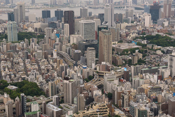 Aerial view of the Skyline of Tokyo, Japan