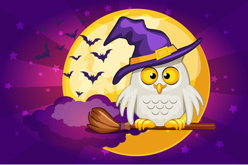 Vector Cartoon owl and moon, set Illustration Happy Halloween
