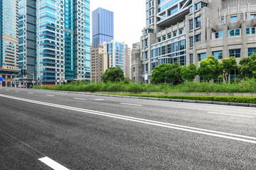 asphalt road and modern buildings in Shanghai,China