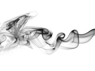 Swirl of white smoke on black background
