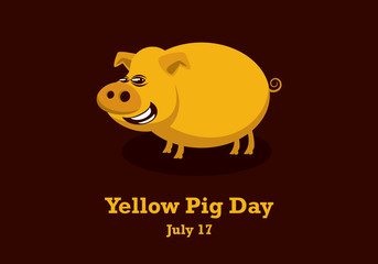 Yellow Pig Day vector. Pig cartoon character. Important day