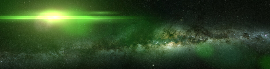 bright green star and the Milky Way galaxy