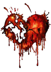 Bloody red heart. Illustration bloody red heart heart with smudges