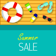 Summer sale Vector background for web, banner, promotion, flyer The inscription Summer sale on blue background Top view on life ring, sunglasses, flip flops and sunscreen on a wooden pier