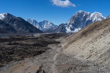 Trekking trail to Lobuche village from EBC, Everest region, Nepal