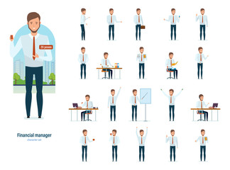 Financial manager in strict work clothes, various poses and situations.