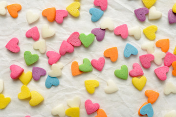 Scattered candy hearts